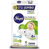 Sleepy Natural 2'li Jumbo Bebek Bezi, 4+ Beden, Maxi+, 52 Adet