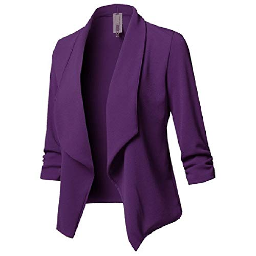 Sleeve Pleated Turn Purple Women Jacket Biker Down XINHEO Collar Solid Front Long Open wBYZC4xCq