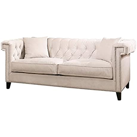Pemberly Row Velvet Loveseat In Ivory