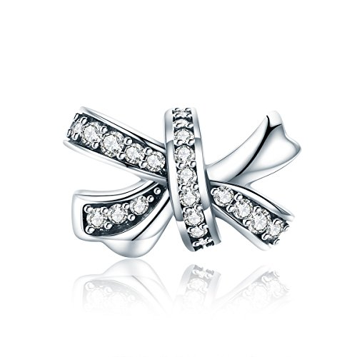 Flower Crystal Bow Charm Cross Fashion Jewelry 925 Sterling Silver Charms for Women's European Charm Bracelet]()