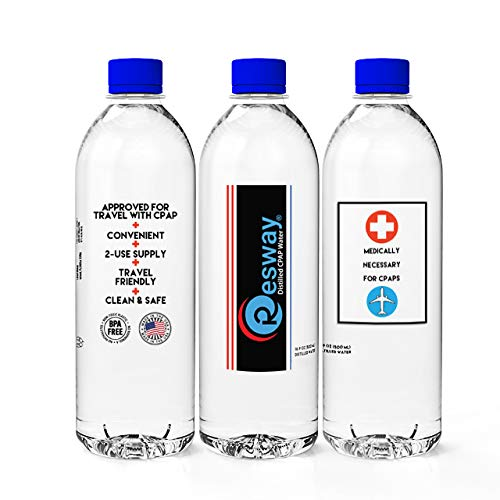 (Resway Distilled Water| 24-12 Pack 16.9oz H2O Travel Bottles for Resmed, Respironics Machines, Personal Humidifier | Medical Supplies for Vacation | Demineralized, Sterile, Antibacterial, Clean |)