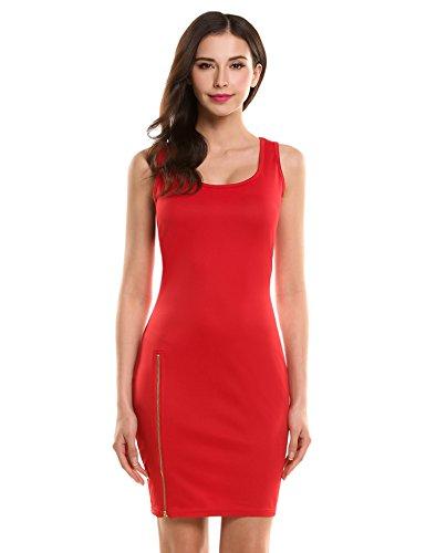 Hotouch Women's S~2XL Cotton Spandex Bodycon Pencil Mini/Midi Dress Red (Cotton Lycra Dress)