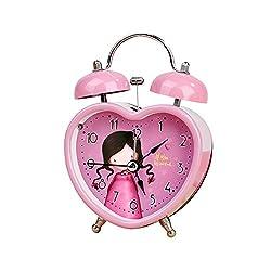 Heart Shape Twin Bell Alarm Clock Lovely Girl Pink