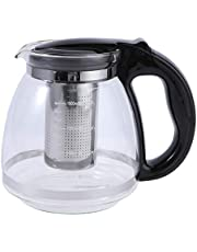 YARNOW 1500ml Tea Glass Teapot with Removable Infuser Stove Top Microwave Dishwasher Safe Perfect for Blooming Loose Lea (Black)
