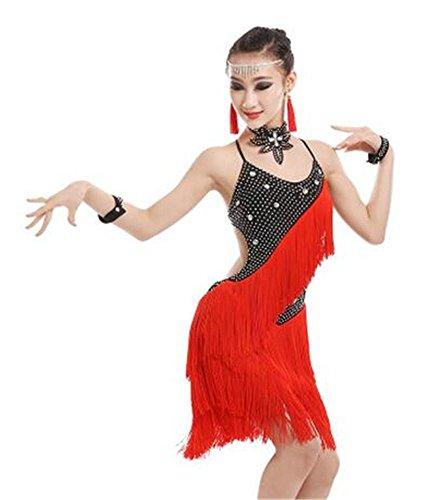 show dance danse latine Robe de show danse dance shining dance show professionnelle dance 140cm black de red fOq40f