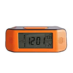 Digital Alarm Clock, Loud Electric Clocks with Snooze, Sound Control, Countdown Time Setting, Small Alarm Clocks for Kids, Women, Desk, Home, Kitchen, Bedside (orange/black)