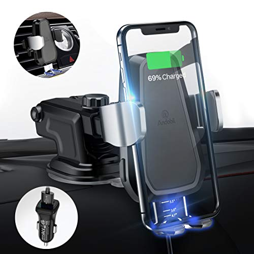 - andobil Wireless Car Charger, Qi Certified, Automatic Clamping Air Vent Cell Phone Holder Mount Fast Charging, 7.5W/10W Power Compatible iPhone X/Xs Max/Xs/XR/8/8 Plus, Samsung Galaxy Note 9/S9/S9+/S8
