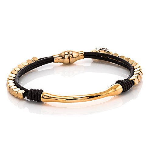Trades by Haim Shahar Sammy Leather Bracelet Handmade in Spain 14k Gold Plated Magnetic Closure, Beads, Designed by Haim Shahar Genuine Spanish Leather