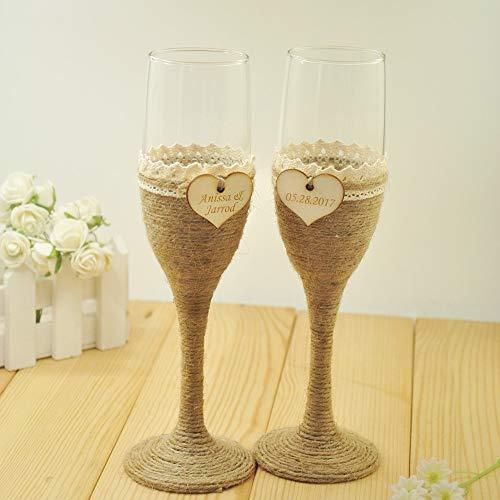 Allegro Huyer Plastic Toasting Glasses 1 Set Personalized Wedding Glasses, Wedding Champagne Toasting Flutes, Customized Names&Date, Burlap Lace Rustic Flutes ()
