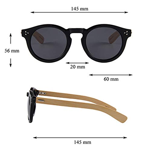 Lunettes Lunettes Water Bois Green UV Hommes Round Wood Protection Lunettes Couleur Soleil Lens Frame Bambou De soleil Silver Green Bamboo Classique Water Lens Lunettes Vintage Femmes Silver qwROvwY