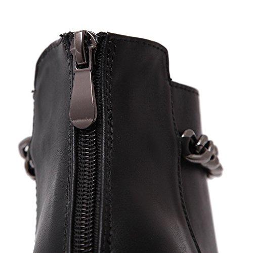 AdeeSu Womens Fashion Pointed-Toe Zipper Urethane Boots Black Dwkvf