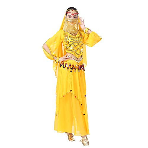 Maylong Women's Belly Dance Outfit Colorful Coins Halloween Costume DW68 (Yellow) ()