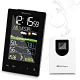 Wittime Latest 2078 Wireless Weather Forecast Station, Indoor Outdoor Thermometer, Digital Hygrometer with Sensor, Alarm Clock and Moon Phase,Touch Buttons, HD Display Screen