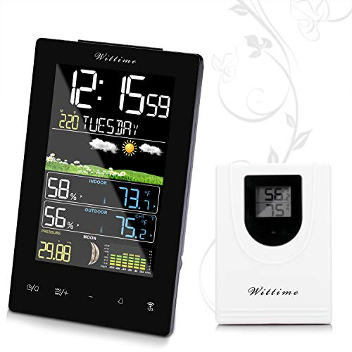Wireless Atomic Weather Station - Wittime Latest 2078 Wireless Weather Forecast Station, Indoor Outdoor Thermometer, Digital Hygrometer with Sensor, Alarm Clock and Moon Phase,Touch Buttons, HD Display Screen
