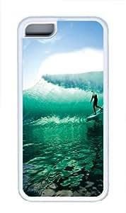 iPhone 5C Case, Wave Surfing TPU Custom iPhone 5C Case Cover Whtie WANGJING JINDA