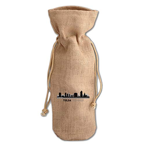 Tulsa Shadow Jute Burlap Wine Drawstring Bag Wine Sack Natural One Size ()