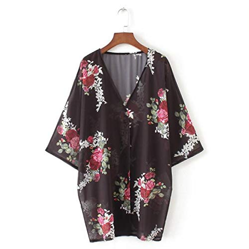 OTINICE Women's Chiffon Kimono Cardigans Floral Puff Sleeve Casual Loose Swimwear Cover ups Black by OTINICE (Image #2)