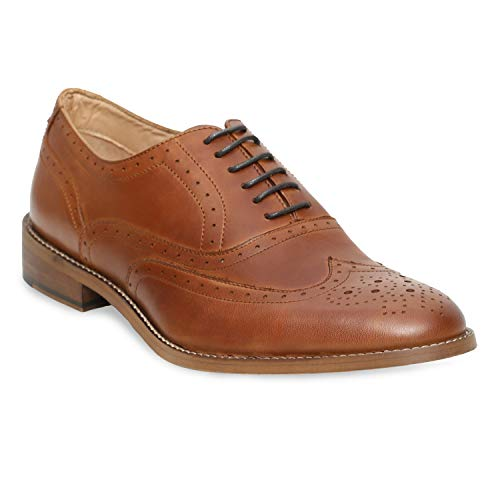 - Urbane Shoes Co Genuine Cowhide Leather Shoes Mens Dress Shoes Oxford Shoes Men Perforated Classic Brogue Wing-Tip Lace Up Cognac