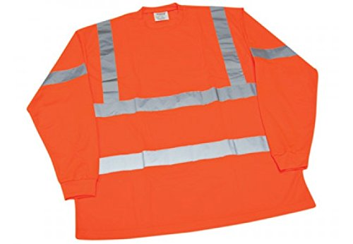 Ironwear 1204FR-O-TP-6-3XL ANSI Class 3 Flame Retardant Polyester Long Sleeve Crew Neck SAFETY Shirt with Pocket & 2'' Silver Reflective Tape, Orange, 3X-Large