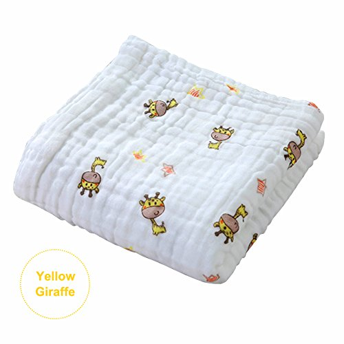 105105cm 6 Layers Baby Bath Towel Soft Cotton Muslin Towel Blanket Swaddle Absorbent Thick Face Hand Towels for Newborn Baby White (Fawn Pattern)