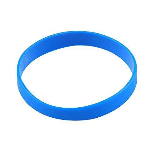 Vitalite 100pcs/set Plain Silicone Wristbands Blank Rubber Bracelets for Adult Blue