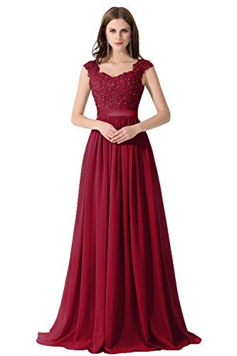 Damen Elegant Spitze Brautjungfernkleid ALinie Chiffon Abendkleid in ...