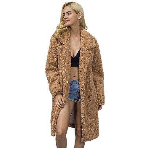 FUNOC Women's Winter Warm Loose Oversized Long Fleece Jacket Coat Outwear Plus Size - Teddy Bear Coat