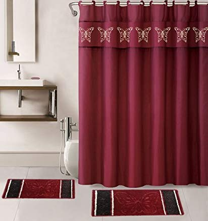 15 Pieces Burgundy Solid Color with Embroidery Butterfly Design Bathroom Mats Set Non-slip Rug Carpet Shower Curtain and Hooks (Set Red Curtain Shower)