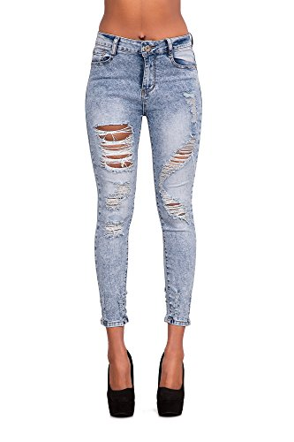 LustyChic - Vaqueros - para mujer Light Blue Ripped