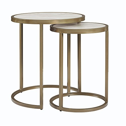 (Dorel Living Moriah Nesting Tables, Soft Brass, Faux Marble )