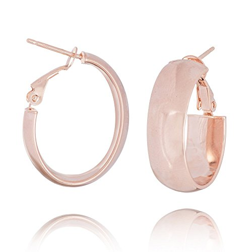 14k Rose Gold Plain 8mm Oval Hoop Earrings Omega Clip by JewelryWeb