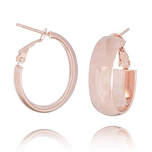 - 14k Rose Gold Plain 8mm Oval Hoop Earrings Omega Clip