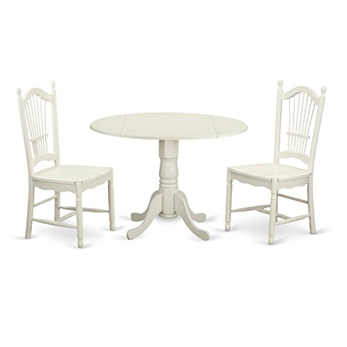 East West Furniture DLDO3-WHI-W 3 PcKitchen Set for 2-Dinette Table and 2 Dining Chairs, Linen White