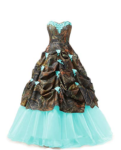 Chupeng Women's Sweetheart Ball Gown Appliques Camouflage Wedding Bridal Dresses Prom Quinceanera Plus Size