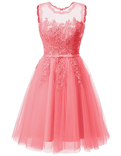 Tulle Coral Womens Prom Applique Dresses Homecoming Short Cocktail Lace Gowns ALAGIRLS Ynqx4vv