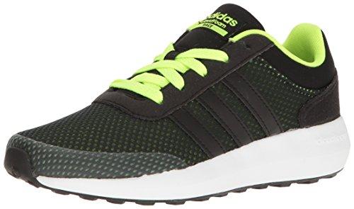 adidas Cloudfoam Race (Big) Sneaker, Black/Solar Yellow, 3 Little Kid M by adidas