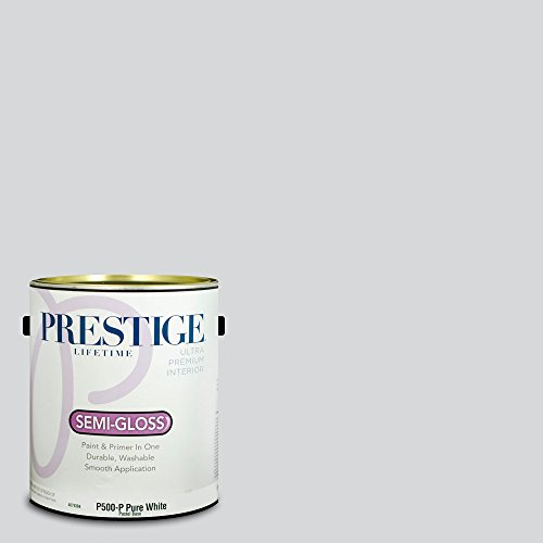 Prestige Paints P500-P-MQ3-25 Interior Paint and Primer in One, 1-Gallon, Semi-Gloss, Comparable Match of Behr Gray Shimmer, 1 Gallon, B98-Gray ()