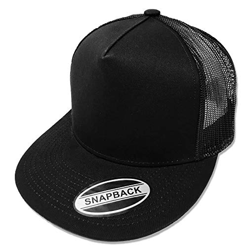 GREAT CAP Blank Trucker Hat - Classic Flat Bill Visor Baseball with Mesh Snapback for Hot Weather, Summer, Outdoor, Running, Car Driving, Vacation, Fishing, Sport, Daily - Black/Black ()