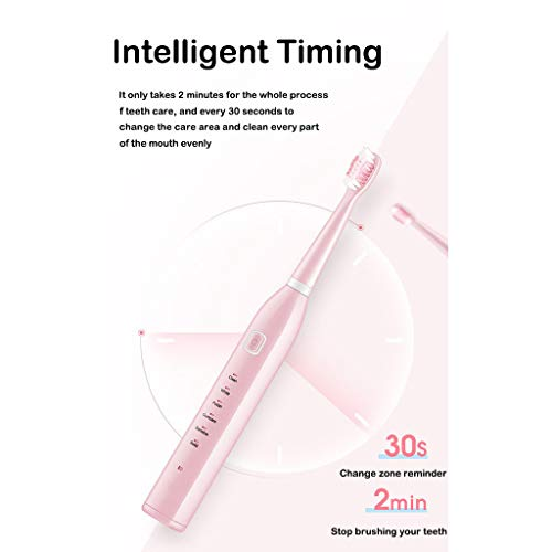 Rechargeable Electric Toothbrush, with 4 Brush Heads, vmree Powerful Sonic Electric Toothbrush with Smart Timer, 6 Optional Modes Teeth Cleaning Whitening Toothbrushes for Adults (Pink)