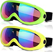 Rngeo Ski Goggles, Pack of 2, Snowboard Goggles for Kids, Boys & Girls, Youth, Men &am
