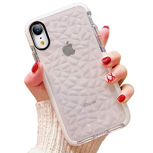 (iPhone XR Clear Case,YTanazing Geometric Diamond Pattern Stylish Textured Back Flexible Shockproof Soft Clear Cover for iPhone XR - White)