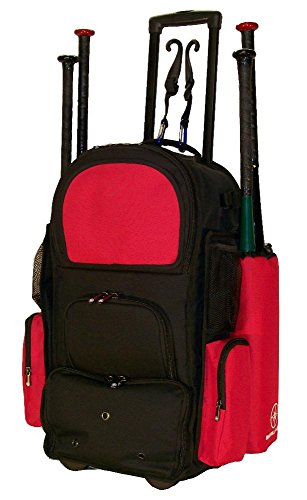 New Design Vista CTR in Black and Red Softball Baseball Bat Equipment Roller Backpack with Innovative Removable Bat Sleeves, Embroidery Patch and Pull out Handle by MAXOPS