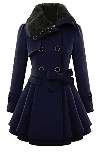 (Lemosery Women's Stylish Lapel Faux Fur Collar Wool Blend Long Sleeve Trench Coat Dress)