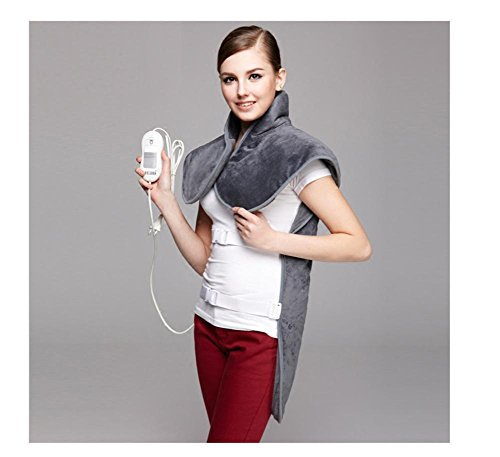 WE&ZHE Electric Heating Shawl, Physiotherapy Magnetic Beads 120W Gray 3 Temperature Adjustable -Heat Pads For Back Pain, Heat Therapy Wrap To Relieve Body by WE&ZHE