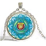 Chakra Anhänger Hals Chakra Halskette Aqua Blau Chakra Anhänger Spiritual Yoga Halskette Energie Heilung Meditation Chakra Yoga von Art Mao