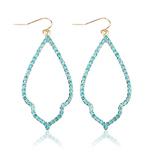 MYS Collection Rhinestone Moroccan Floral Lightweight Open Hoop Dangles - Sparkly Geometric Cut-Out Drop Earrings Scalloped, Moroccan, Quatrefoil Clover (Moroccan Teardrop - Gold Aqua)
