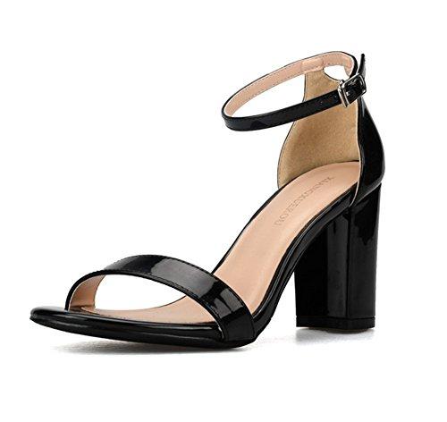 Bloquear Nvxie Sandalias Zapatos Señoras Tamaño Tacón 3 Paseo Hebilla Noche Black Mujer 8 Correa Tobillo Fiesta Strappy tXxqAt7r