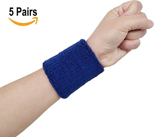 Hycome Wrist Sweatband in 14 Different Colors - Athletic Cotton Terry Cloth Wristbands Armbands(Navy 5 Pairs, Medium)