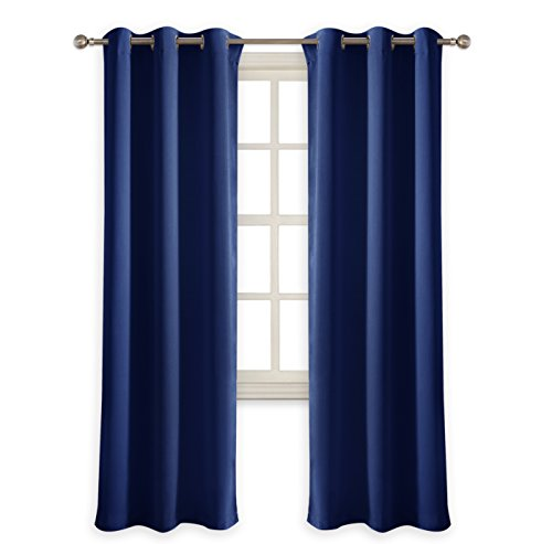 "PONY DANCE Bedroom Blue Curtain - Blackout Panels Decorative Home Fashion for Solid Light Blocking Window Treatments Thermal Insulated Drapes for Kids' Room, 42"" W x 72"" L, Navy Blue, One Pair"