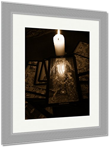 Ashley Framed Prints Divination By Tarot, Wall Art Home Decoration, Sepia, 30x26 (frame size), Silver Frame, AG6514084 by Ashley Framed Prints